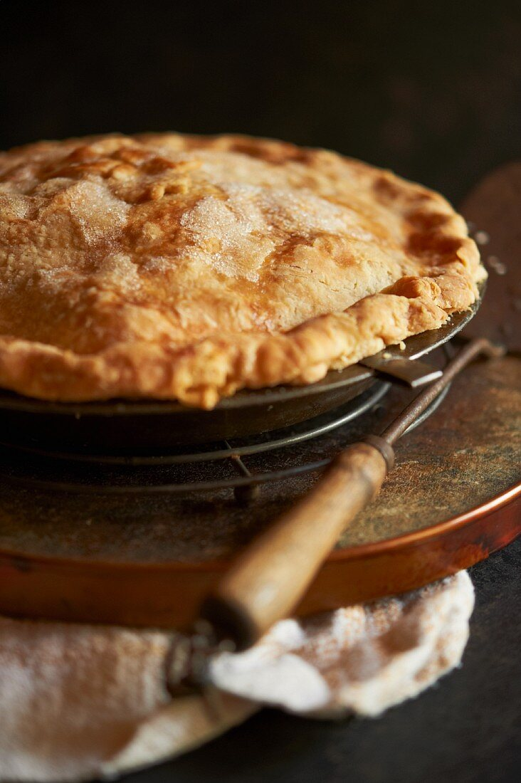 Freshly Baked Apple Pie on a Cooling Rack