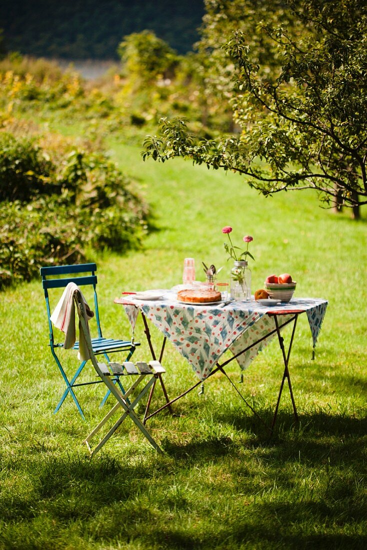 A Table Set Outside in the Country with a Peach Dessert