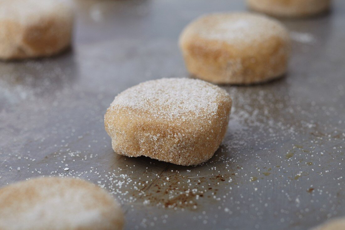 Balls of Sugar Cookie Dough on a Cookie Sheet Ready to be Baked