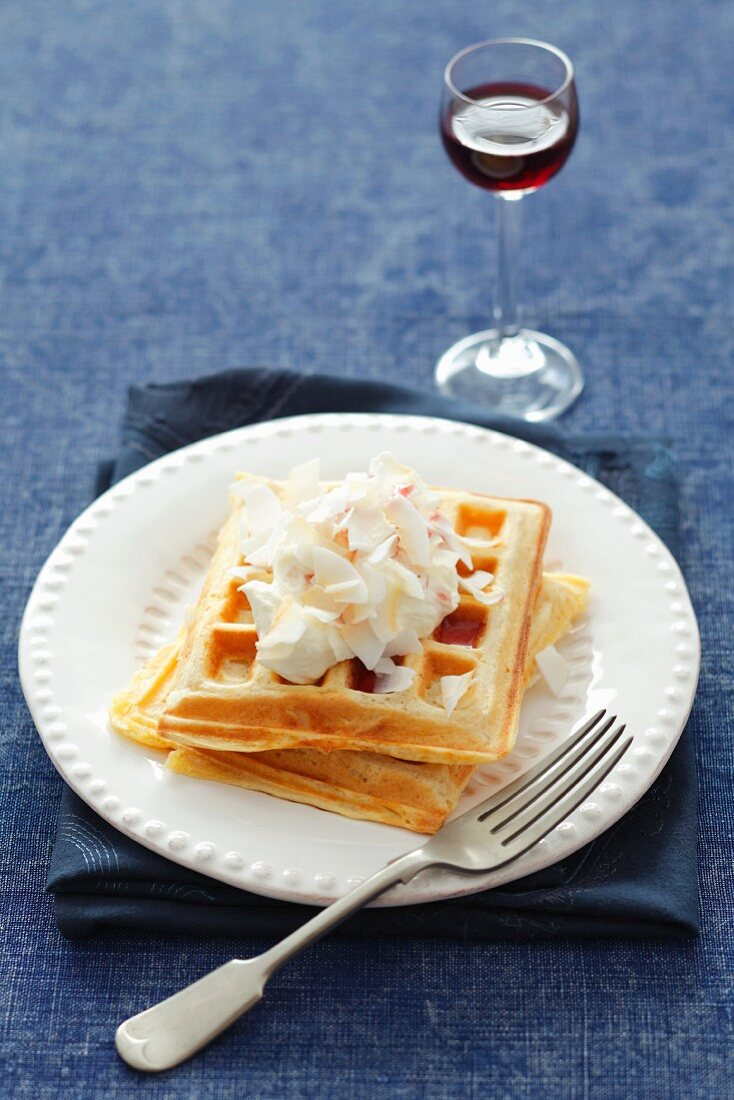 Coconut waffles with cream and cassis