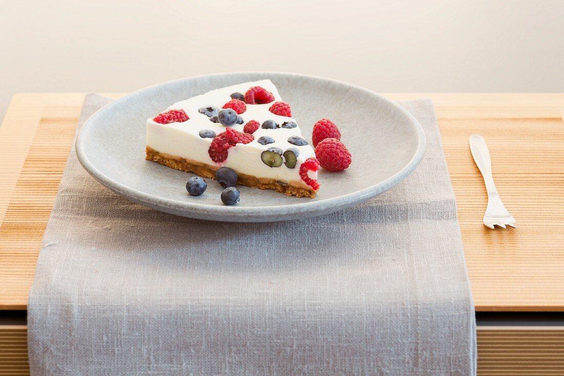A fridge cake with fresh berries