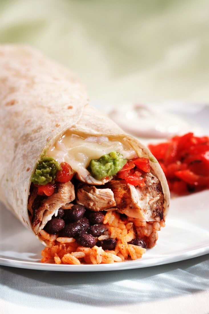 Chicken Burrito with Rice, Beans, Cheese and Guacamole