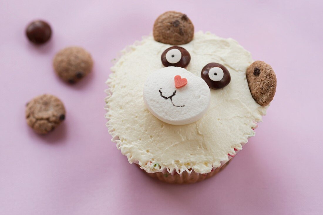 A cupcake with a bear's face