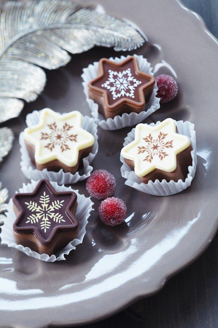 Festive, star-shaped chocolates