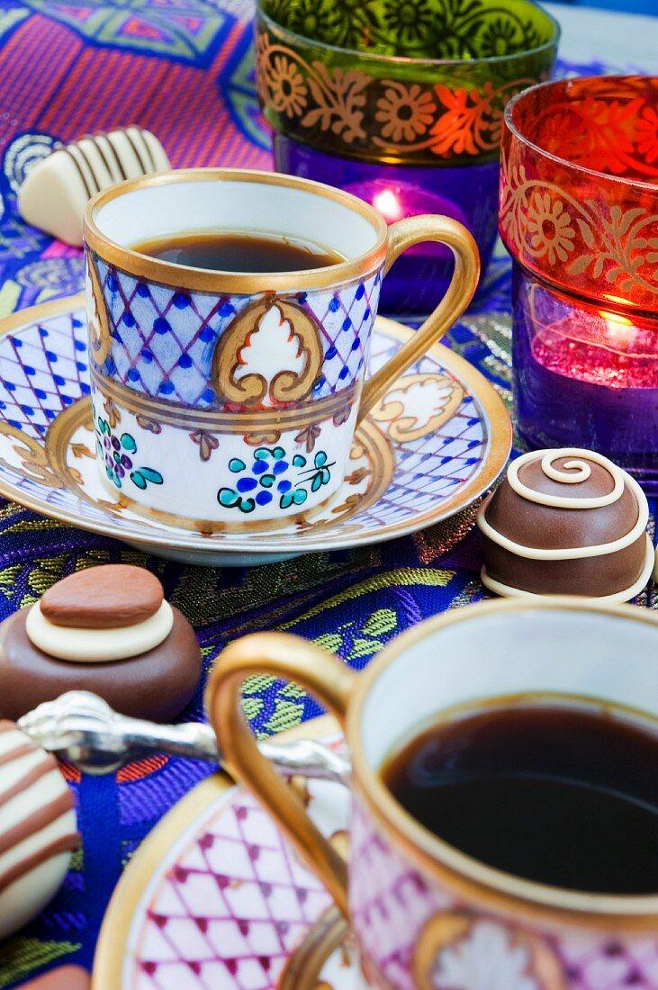 Coffee cups, chocolates and tealight holders