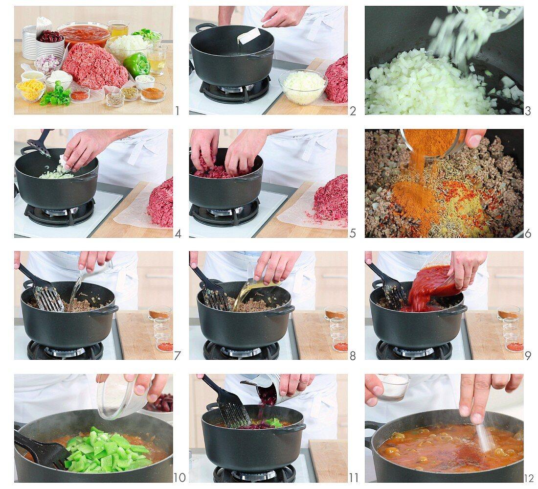 Chilli con carne being prepared