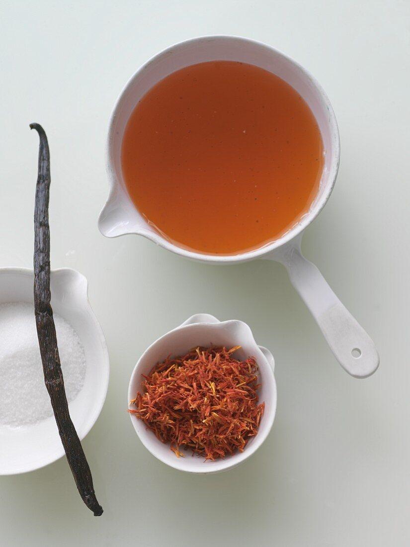 Vanilla Saffron Simple Syrup with Ingredients