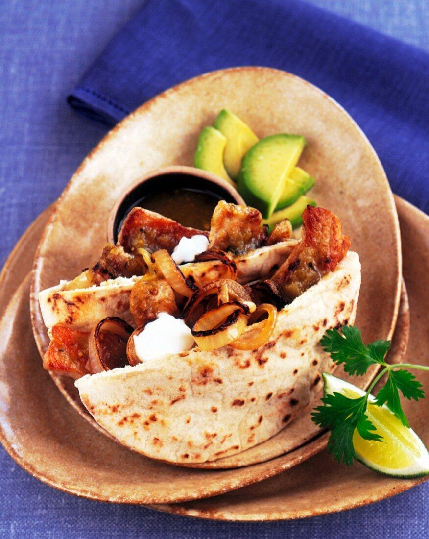 Chicken Shawarma in Pita Bread with Onion and Avocado
