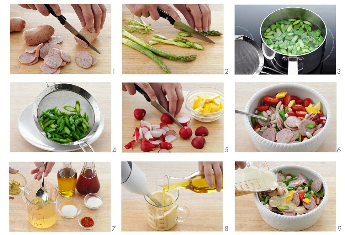 Sausage salad with vegetables being prepared