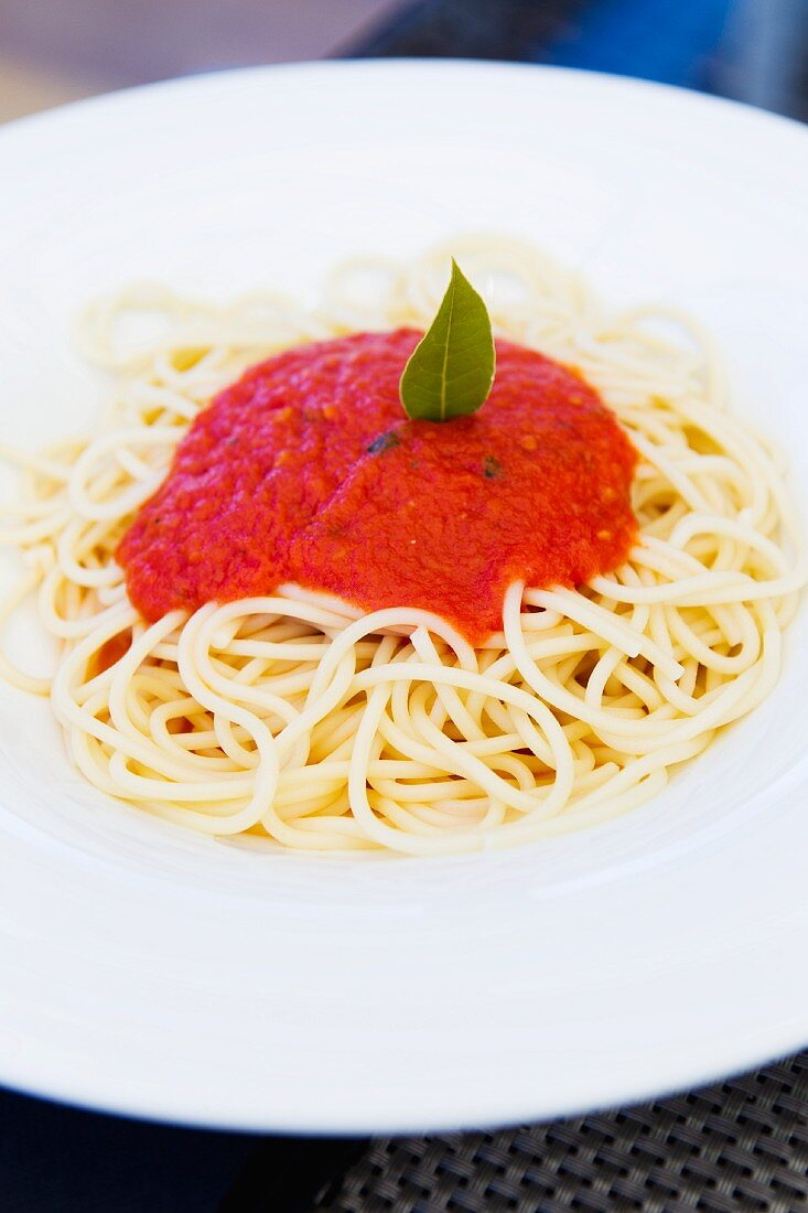 Spaghetti topped with tomato sauce and a bay leaf
