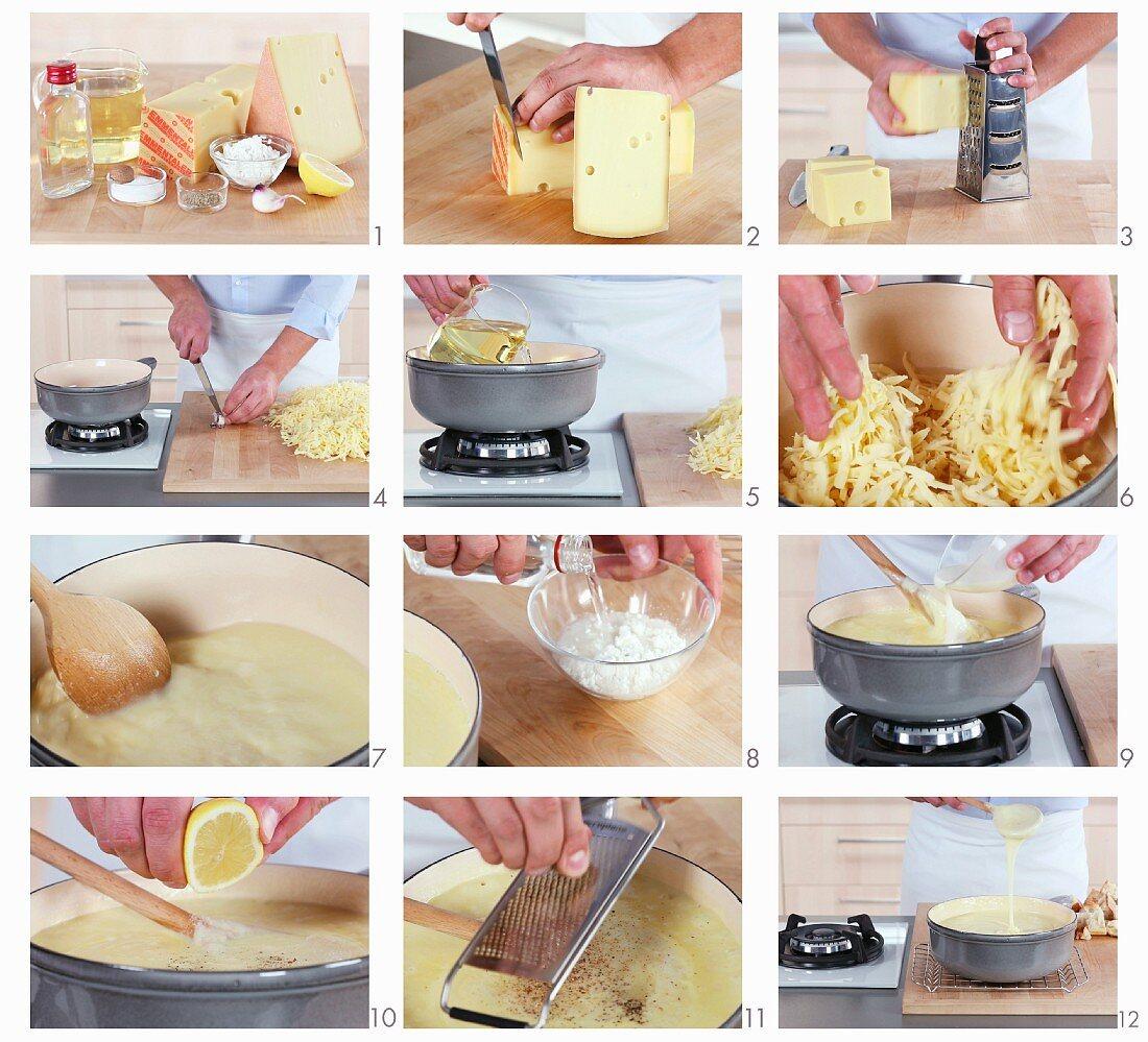 Making cheese fondue