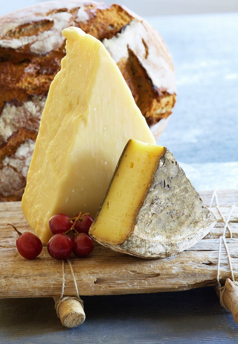 Parmesan and Tomme de Savoie cheese on a wooden board