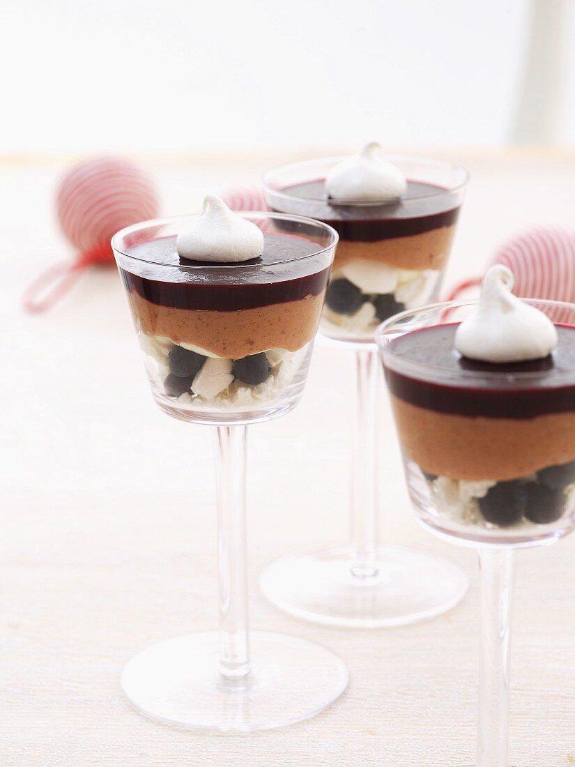 Chestnut dessert with blueberries (Christmassy)