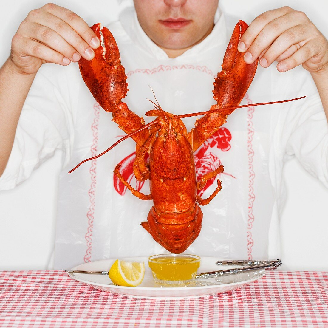 Man dining with an entire lobster