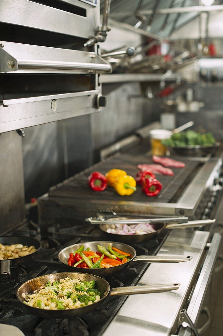 Food in commercial kitchen