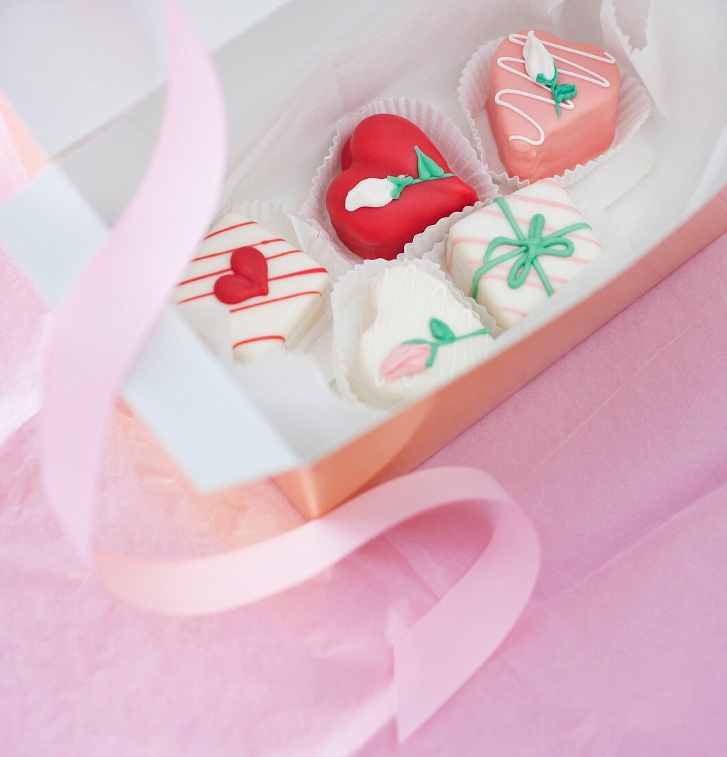 Studio shot of box of heart-shaped candies