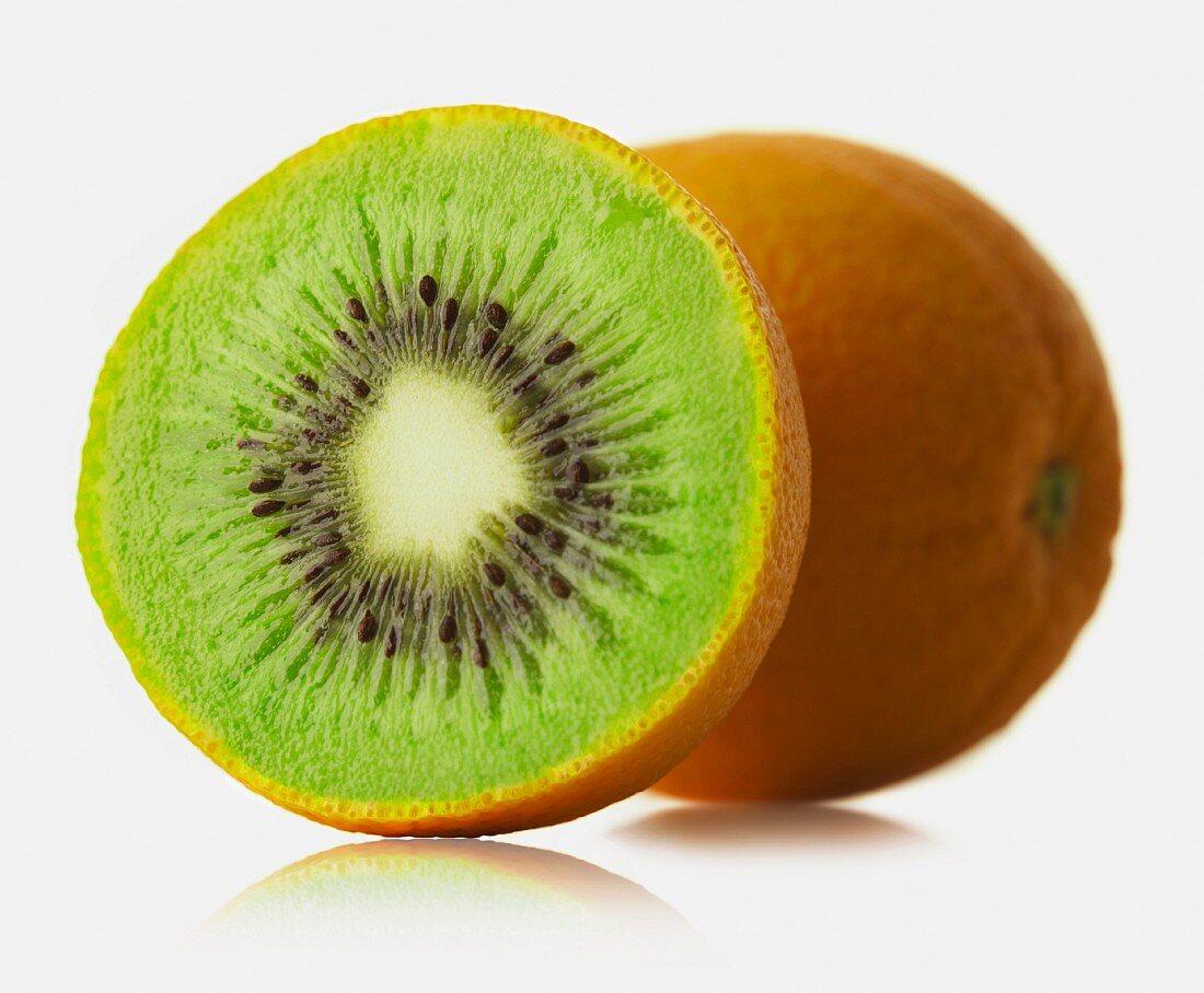 Mixture of orange and kiwi fruit