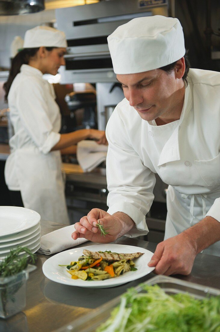 Male chef preparing meal in commercial kitchen