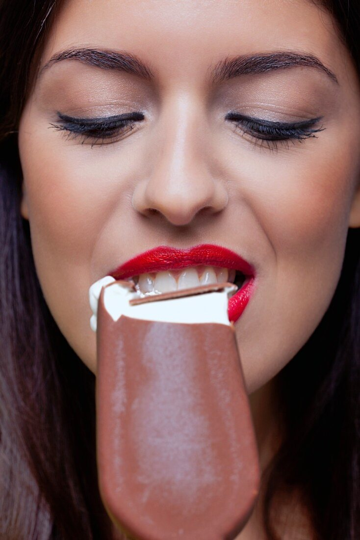 Woman with a huge tongue
