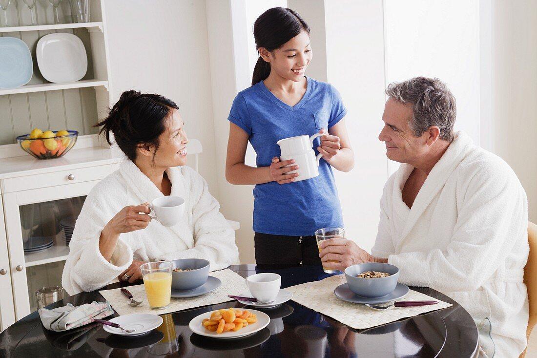 A family having breakfast