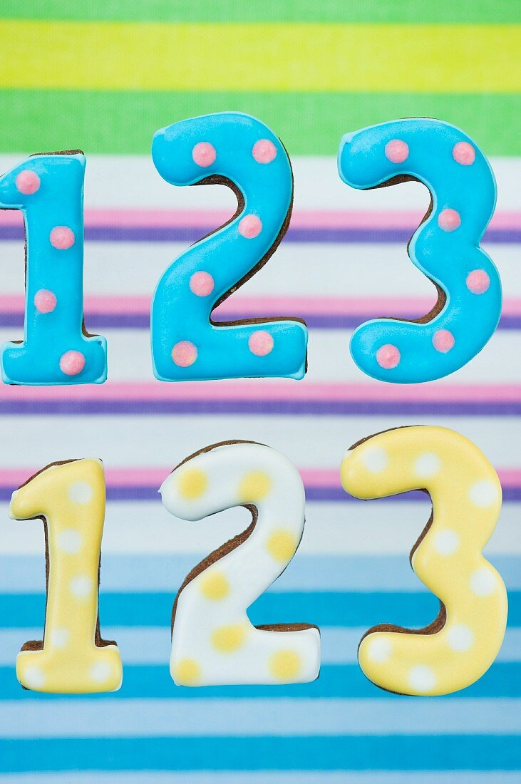 'Number' cookies with polka dots in front of a striped background