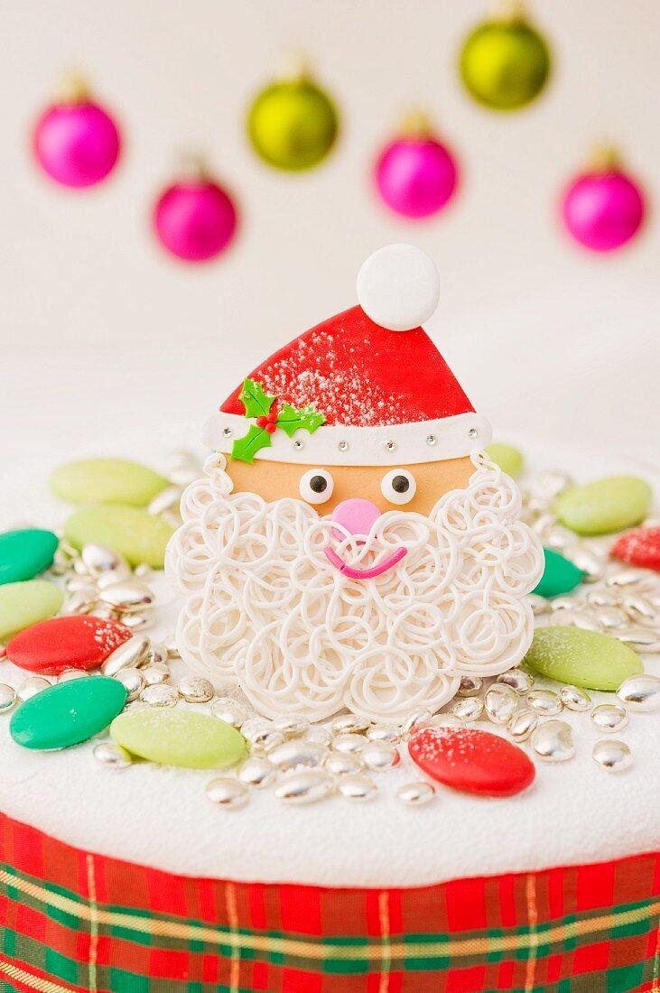 Santa Claus decoration for a Christmas cake