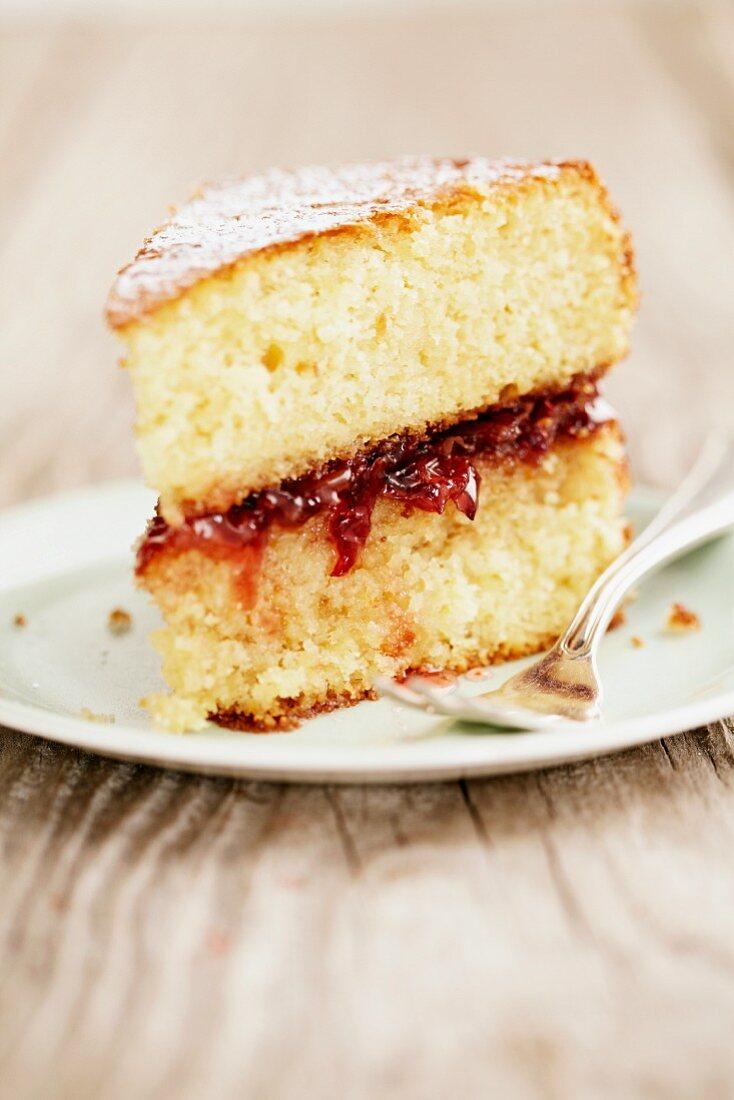 A slice of sponge cake with plum jam
