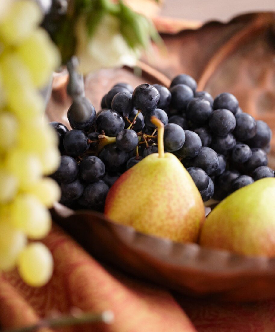 Pears and Grapes in a Bowl
