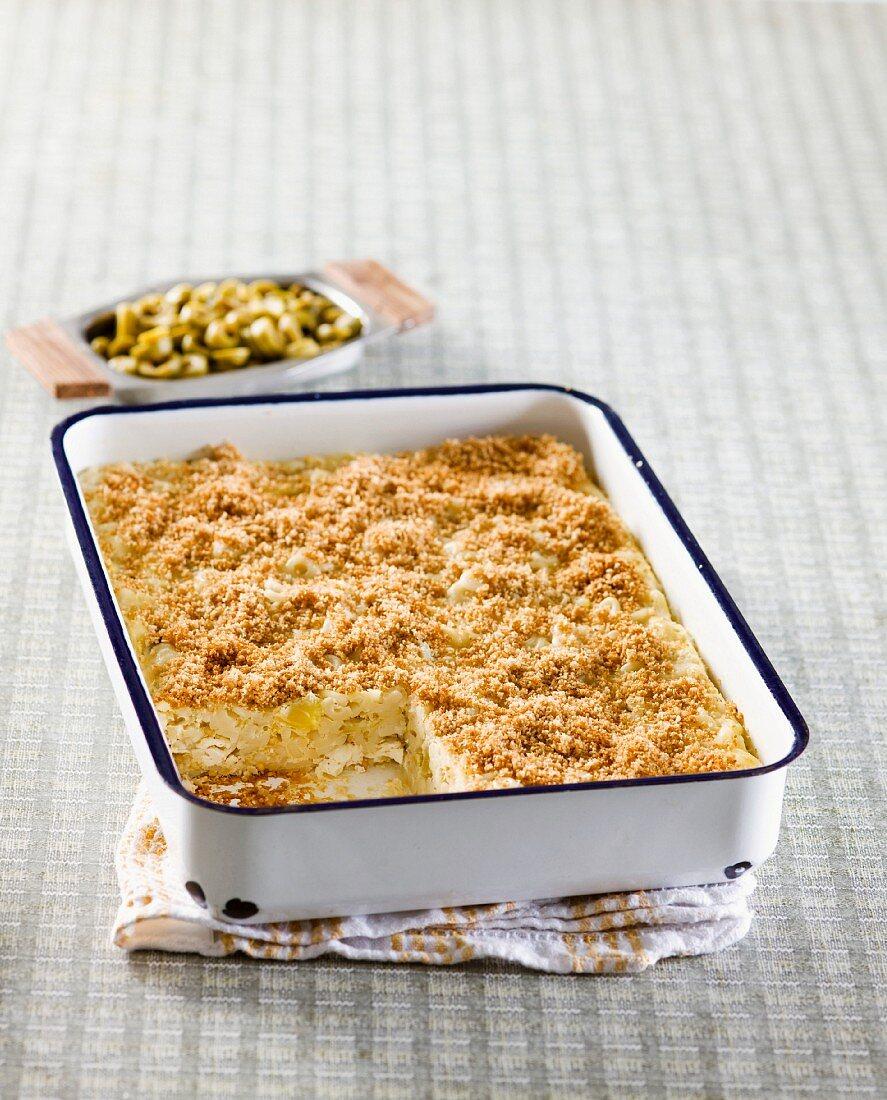 Cauliflower quiche in a baking dish
