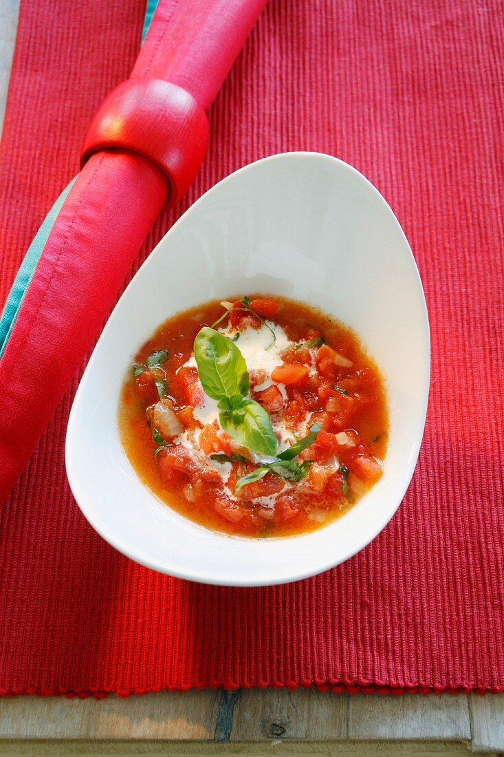 Bowl of Tomato Soup with Cream Garnish, Bowls