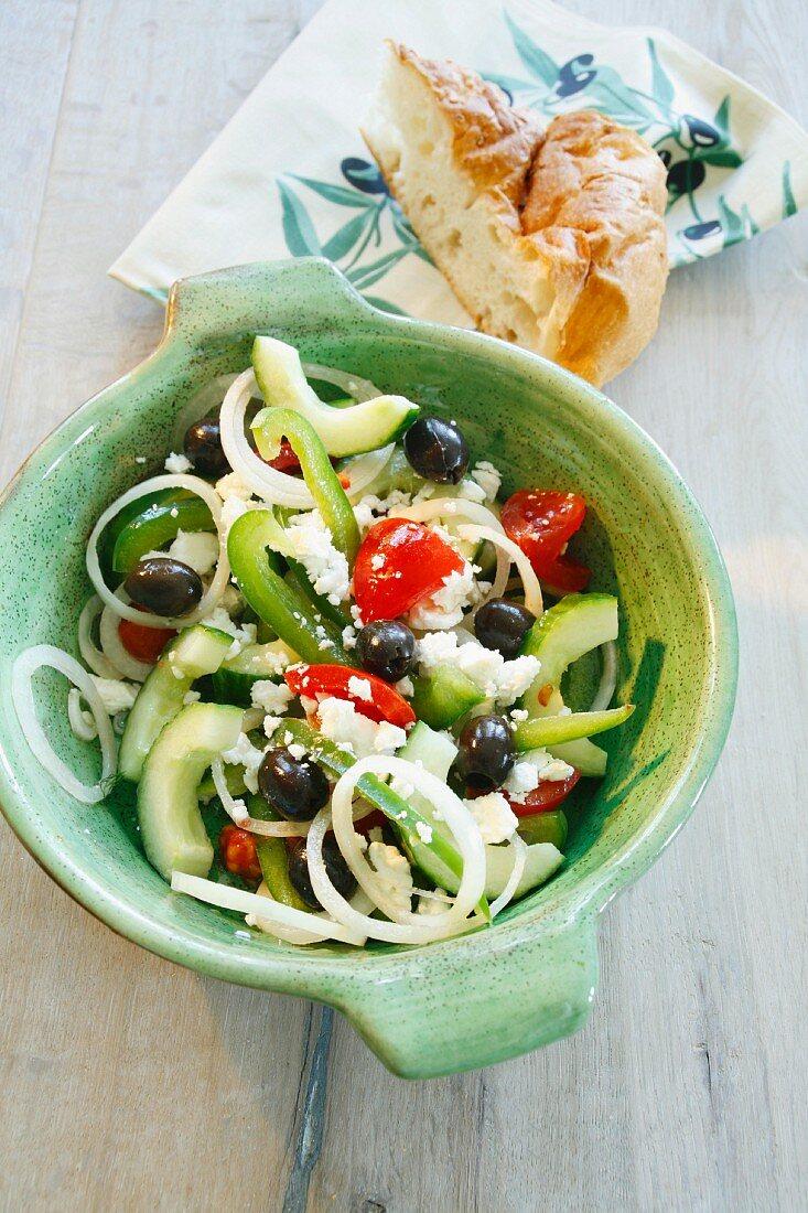 Greek salad with flatbread
