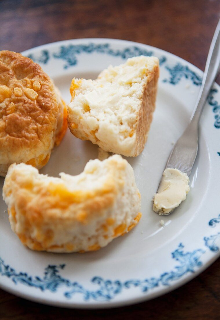 Fresh scones with butter