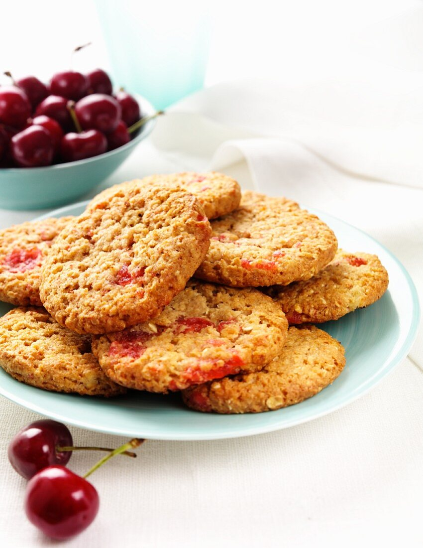 Cherry biscuits and fresh cherries