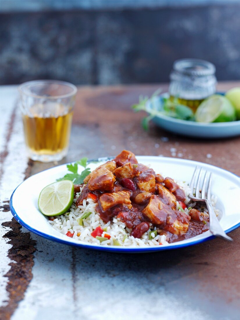 Jerk chicken with rice and lime (Jamaica)