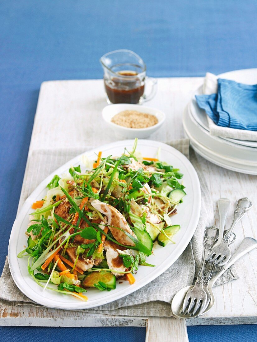 Chicken salad with hoisin sauce