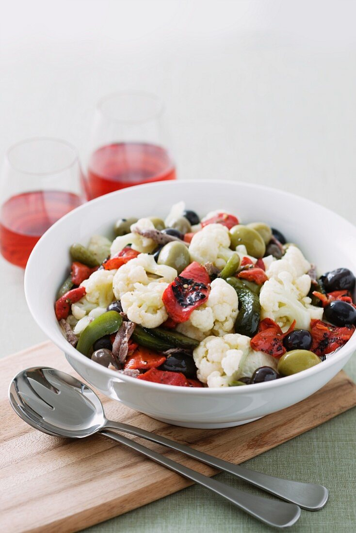 Insalata di rinforzo (salad with pickled vegetables, Southern Italy)
