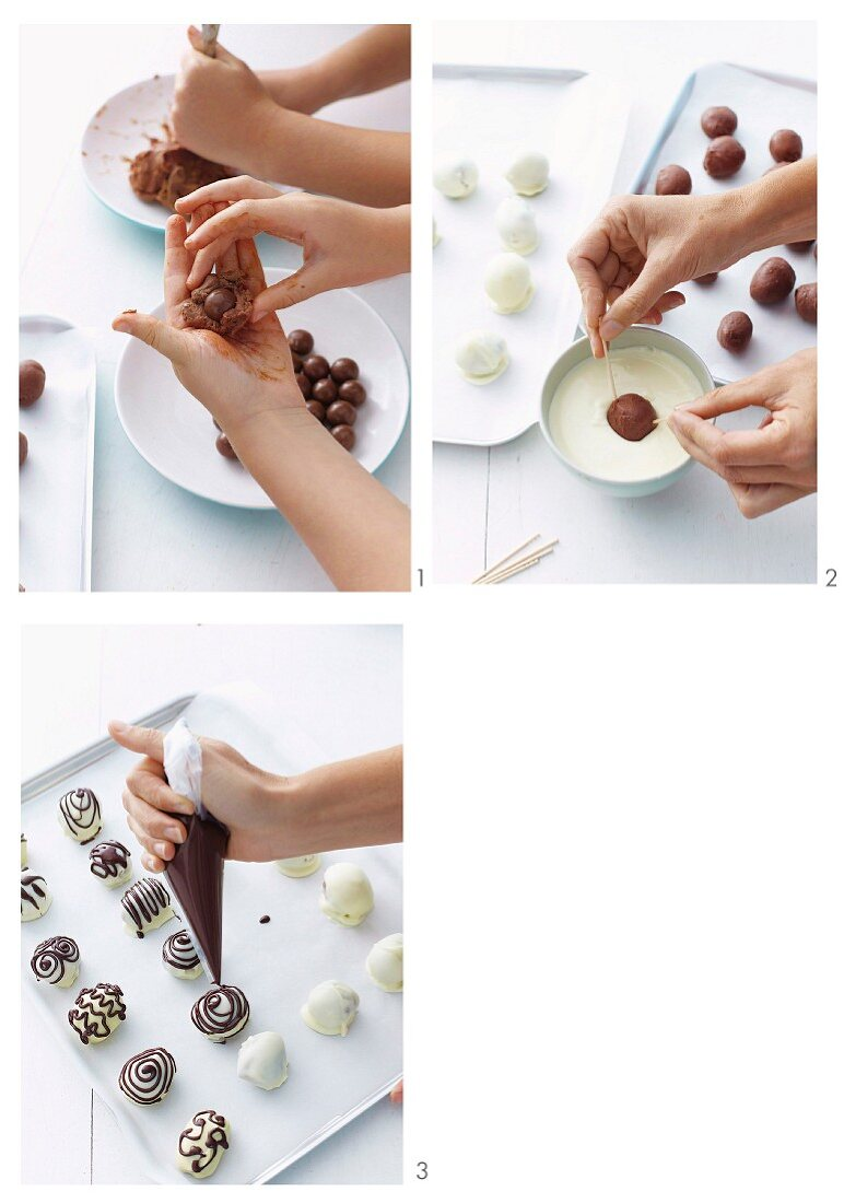 Chocolate Easter eggs with a crunchy centre being prepared