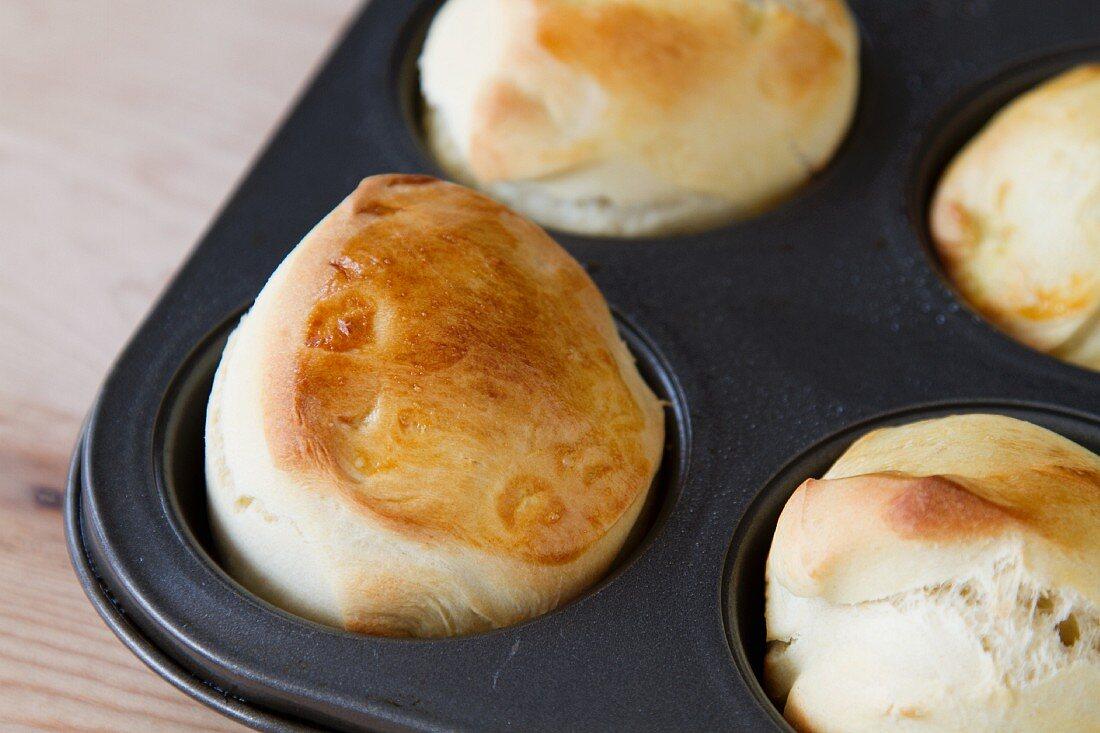 Mini Brioche in a Muffin Tin; Close Up