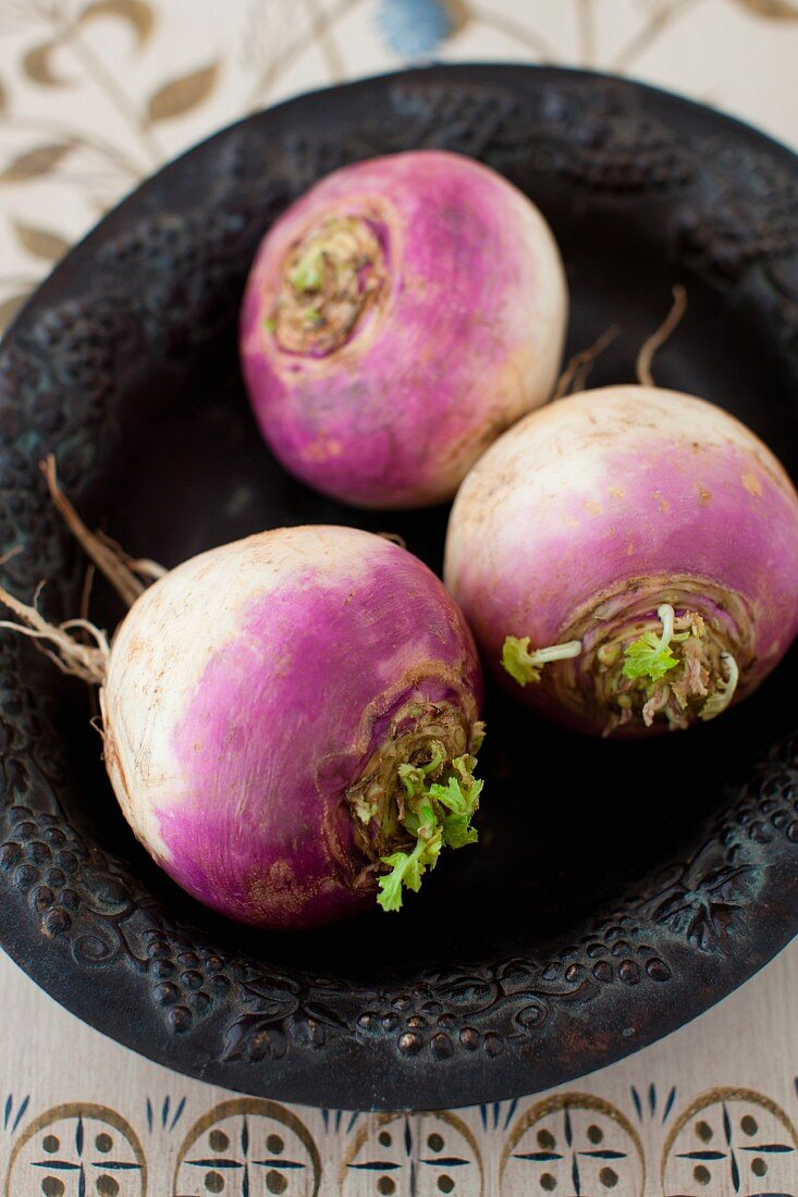 Three Whole Turnips in a Bowl