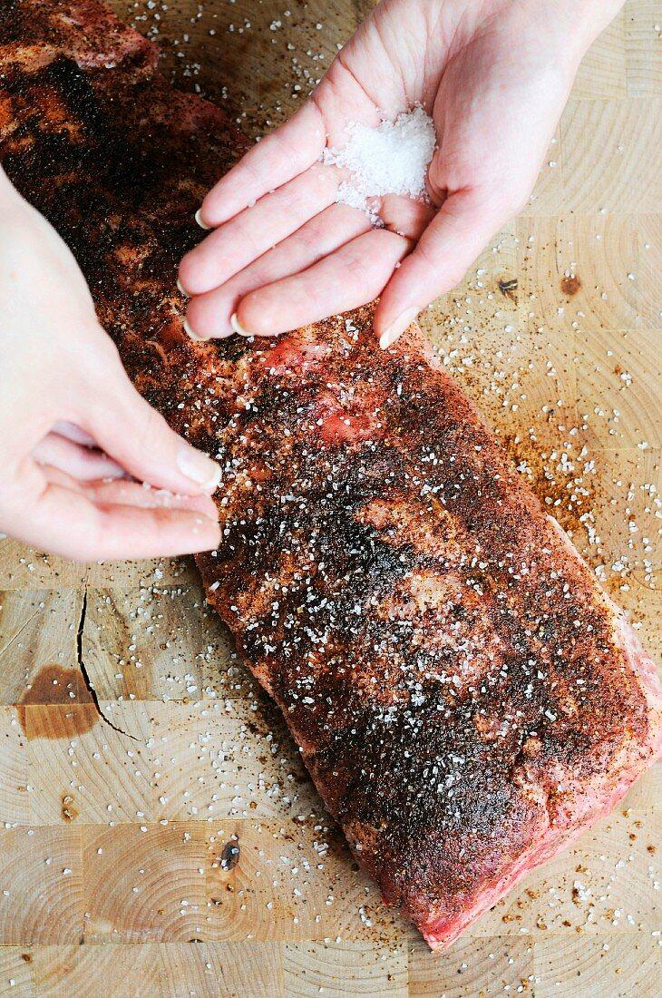 Seasoning Brisket with Salt