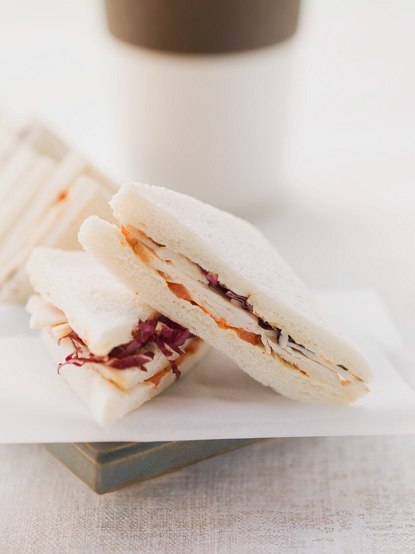 Tramezzini sandwich with radicchio and tomatoes
