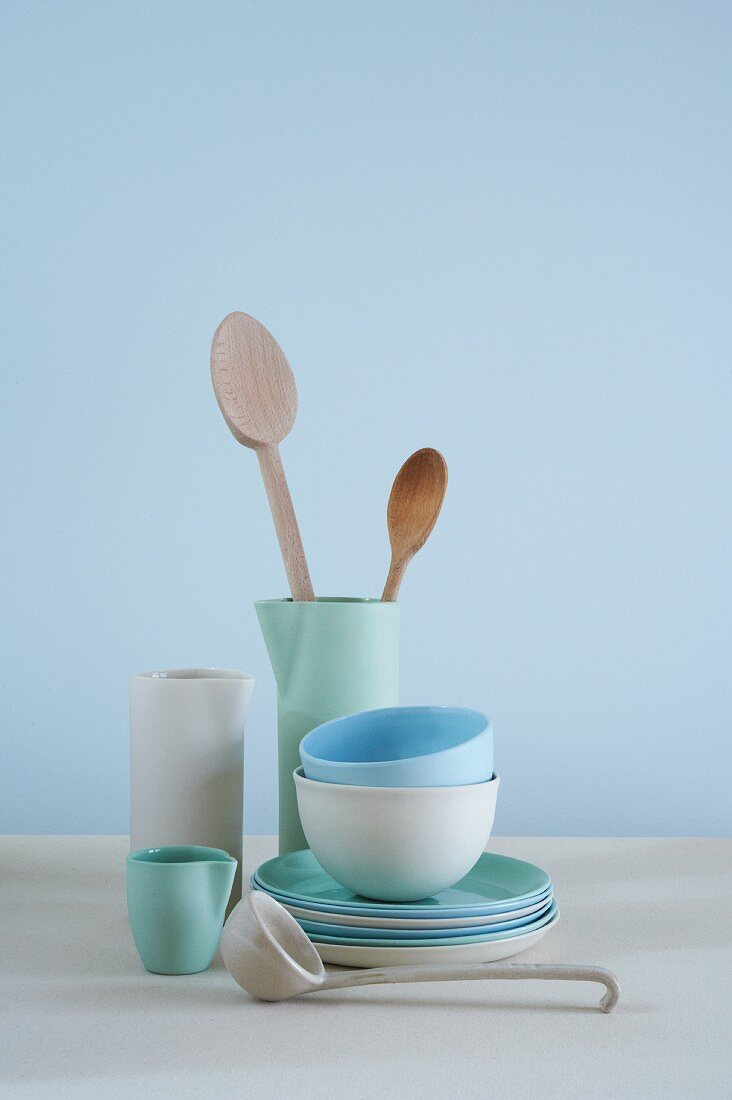 Blue and White Plates, Bowls and Containers with Wooden Spoons