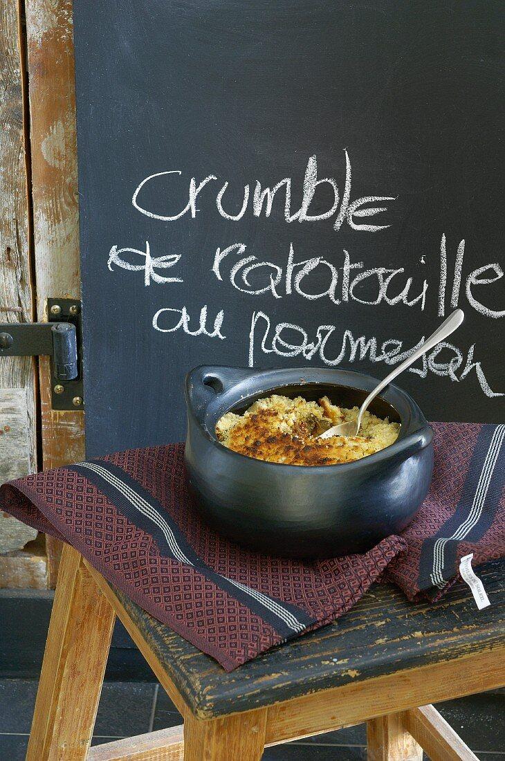 Ratatouille with a parmesan crust