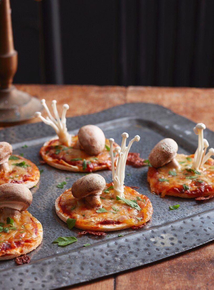 Mini mushroom pizzas for Halloween