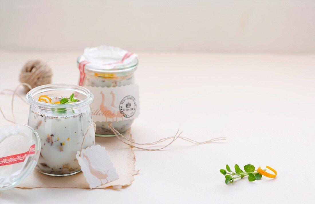 Rillettes of goose in preserving jars