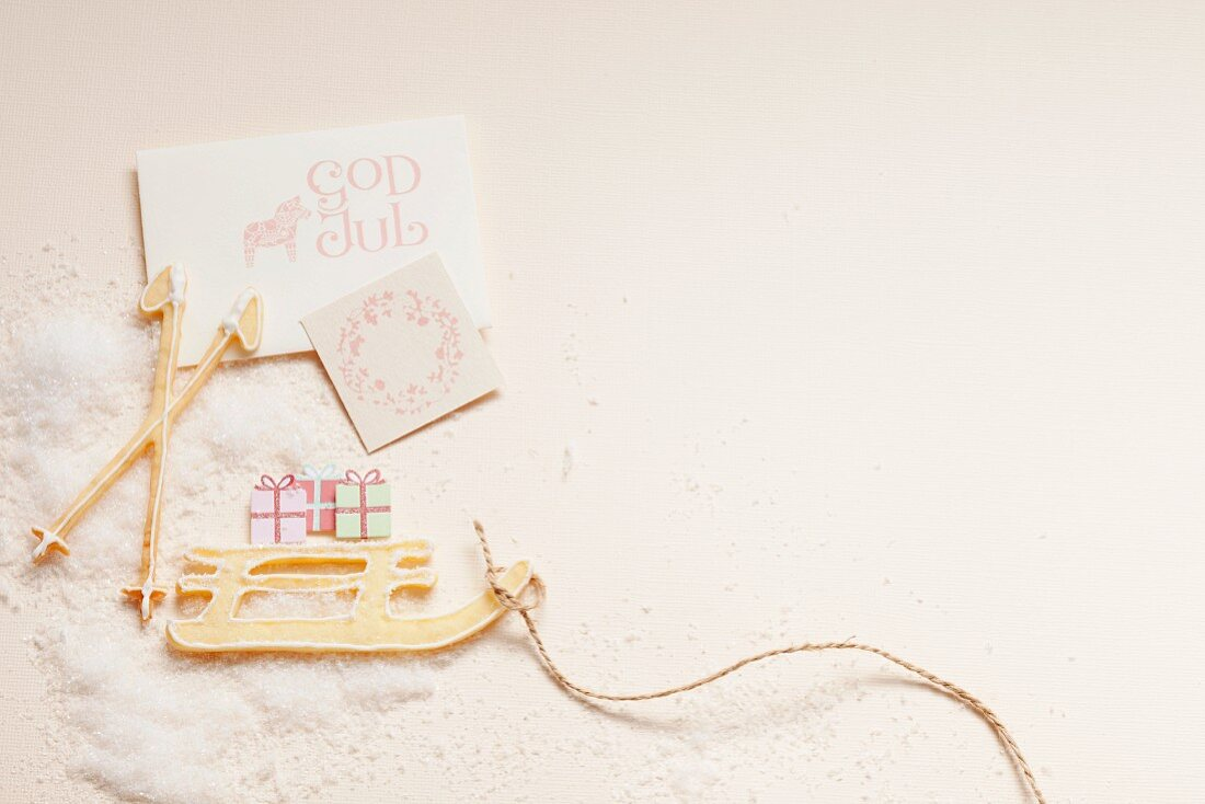 A Christmas greeting from Sweden with a card and biscuits