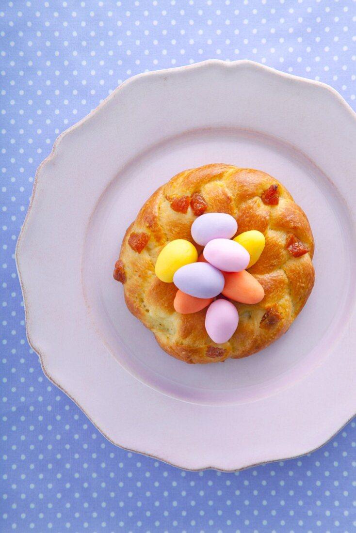 Yeast doughnut with marzipan eggs