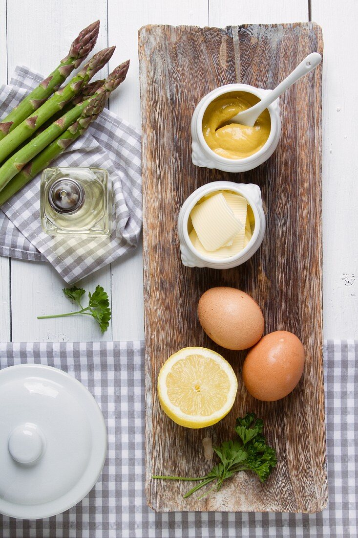Ingredients for sauces served with asparagus