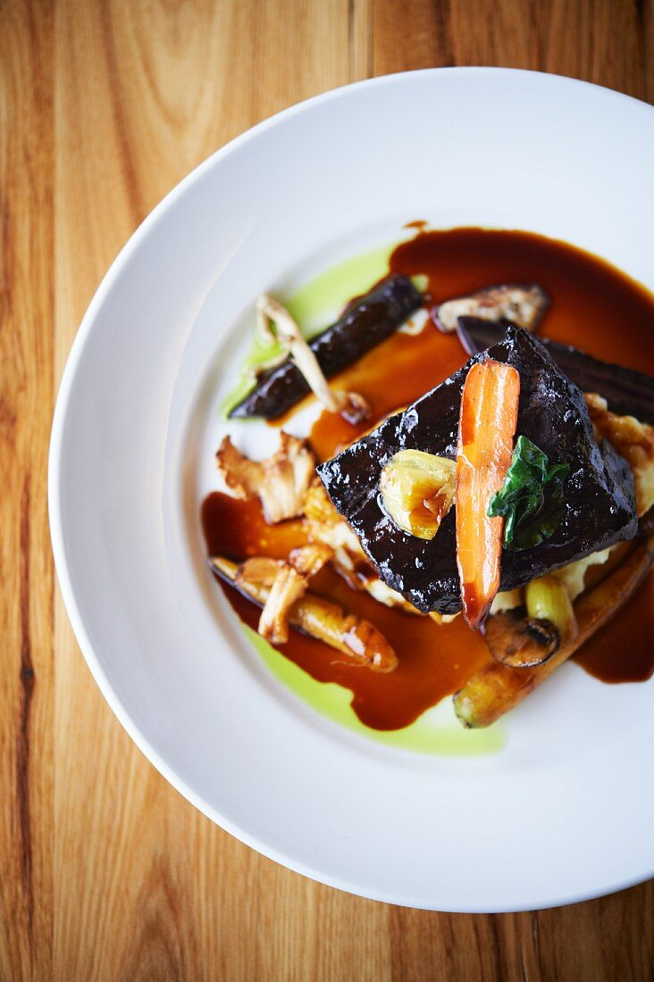 Red Wine Braised Beef Short Ribs with Whipped Parsnips and Winter Vegetable Ragout; From Above