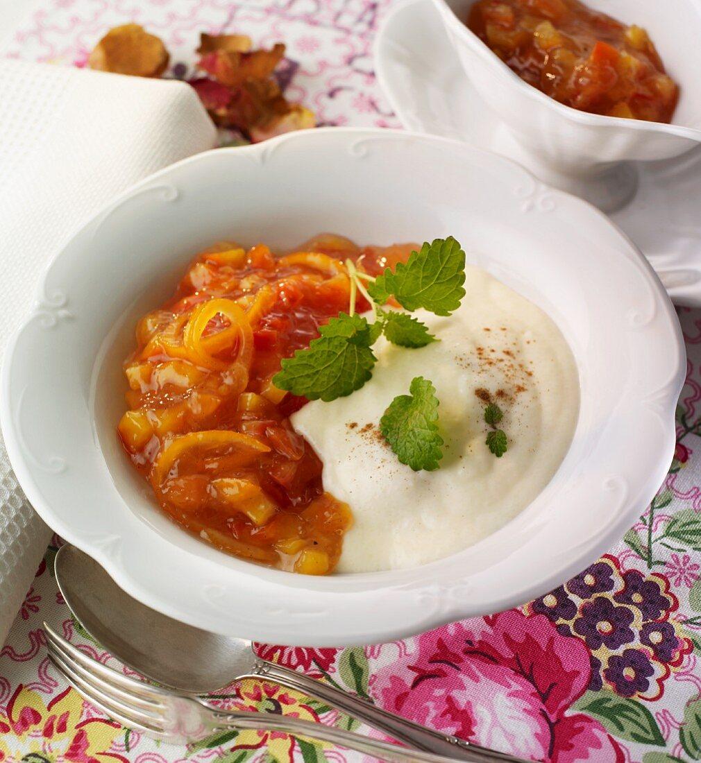 Plum and orange compote with semolina porridge